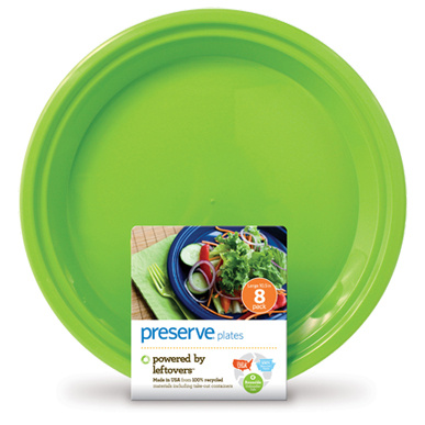 Preserve Large On The Go Plates Apple Green, 8 plates