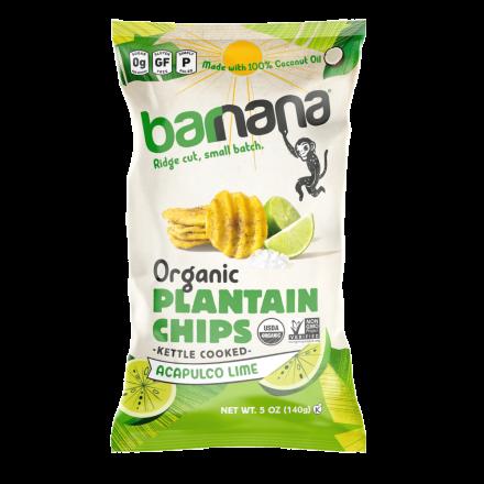 Barnana Organic Ridged Grain-Free Plantain Chips Acapulco Lime, 140g