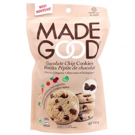 MadeGood Allergen Friendly Cookies Chocolate Chip, 142g