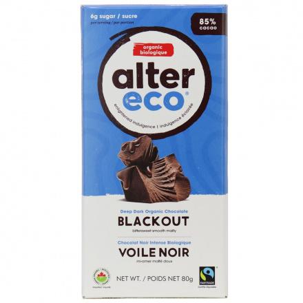 Alter Eco Dark Blackout Organic Chocolate Bar, 80g