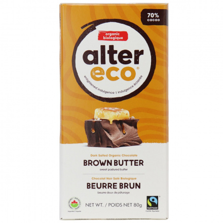 Alter Eco Dark Salted Brown Butter Organic Chocolate Bar, 80g