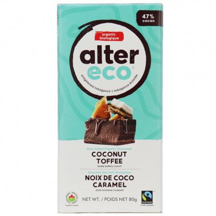 Alter Eco Dark Coconut Toffee Organic Chocolate Bar, 80g