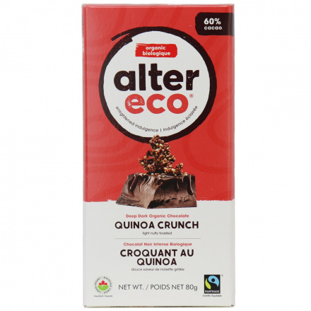Alter Eco Dark Quinoa Organic Chocolate Bar, 80g