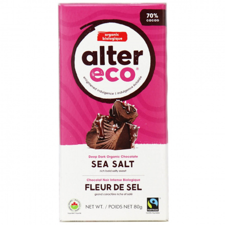 Alter Eco Deep Dark Sea Salt Organic Chocolate Bar, 80g