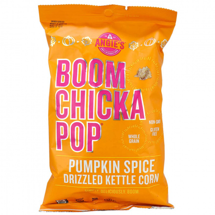 Front of Angie's Boom Chicka Pop Pumpkin Spice Drizzled Kettle Corn, 128g