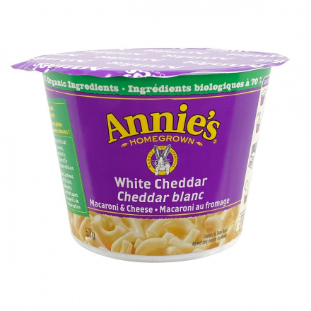 Front of Annie's Homegrown Organic White Cheddar Macaroni & Cheese Cup, 57g