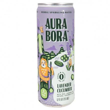 Front of Aura Bora Herbal Sparkling Water Lavender Cucumber, 355mL
