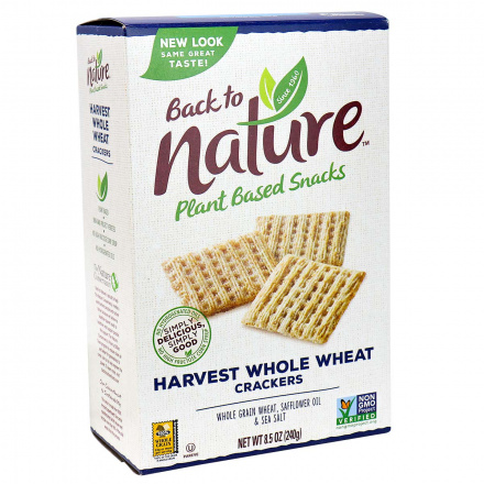 Back to Nature Harvest Whole Wheat Crackers, 240g