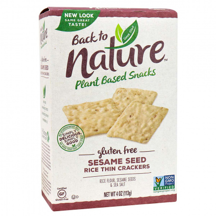 Back to Nature Gluten-Free Rice Thin Crackers Sesame Seed, 113g