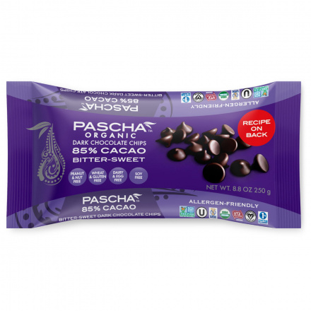 Pascha Chocolate Chips Bitter-Sweet 85% Cacao , 250g