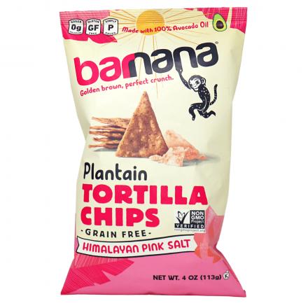 Barnana Grain-Free Plantain Tortilla Chips Himalayan Pink Salt, 113g