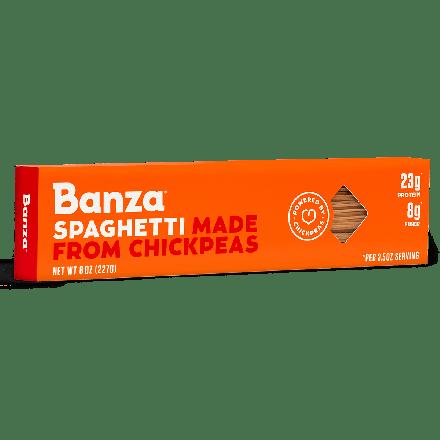 Front of Banza Chickpea Pasta Spaghetti, 227g