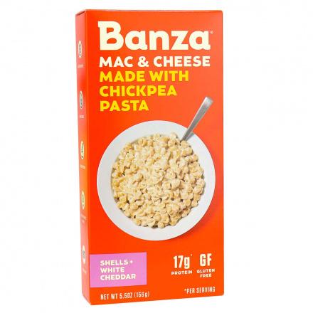 Banza Chickpea Pasta Shells + White Cheddar Mac & Cheese, 156g