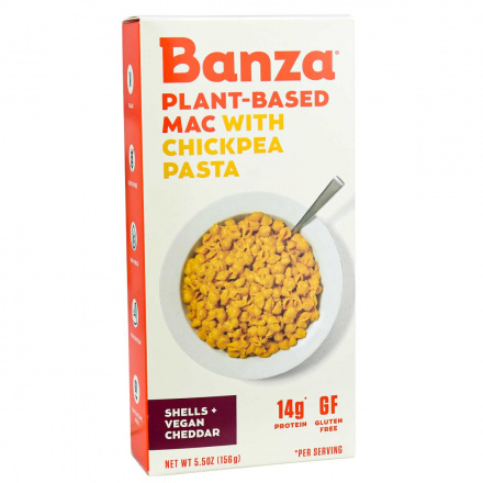 Front of Banza Plant-Based Chickpea Pasta Mac & Vegan Cheese, 156g