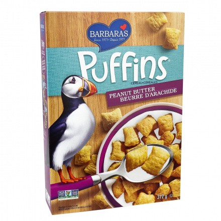 Barbara's Bakery Non-GMO Peanut Butter Puffins Cereal, 312g