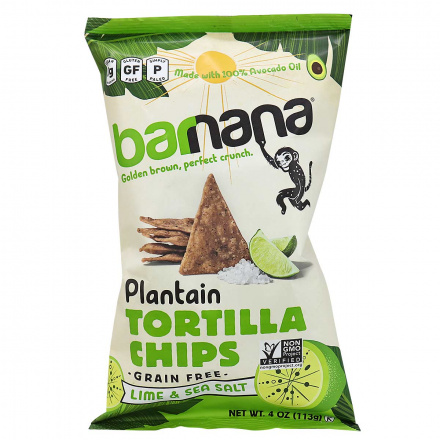 Barnana Grain-Free Plantain Tortilla Chips Lime & Sea Salt, 113g