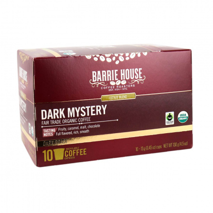 Front of Barrie House Fair Trade Organic Coffee Capsules Dark Mystery, 130g