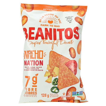 Front of Beanitos Nacho Nation White Bean Chips, 128g