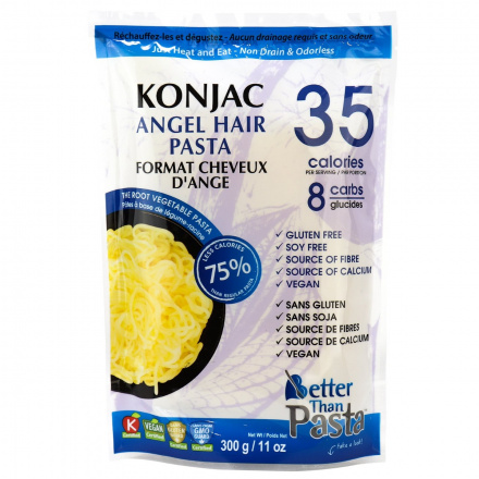 Front of Better Than Foods Non Drain & Odorless Konjac Angel Hair Pasta, 300g