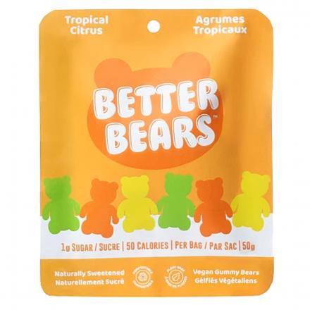 Front of Better Bears Vegan Gummy Bears Tropical Citrus, 50g