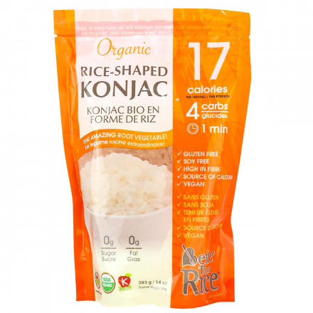 Front of Better Than Foods Organic Konjac Rice, 385g