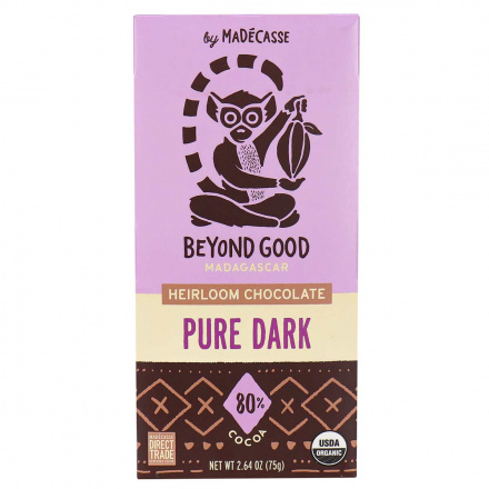 Front of Beyond Good Madagascar 80% Cocoa Heirloom Chocolate Pure Dark, 75g
