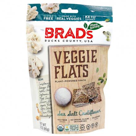 Front of Brad's Plant-Based Grain-Free Veggie Flats Sea Salt Cauliflower, 85g