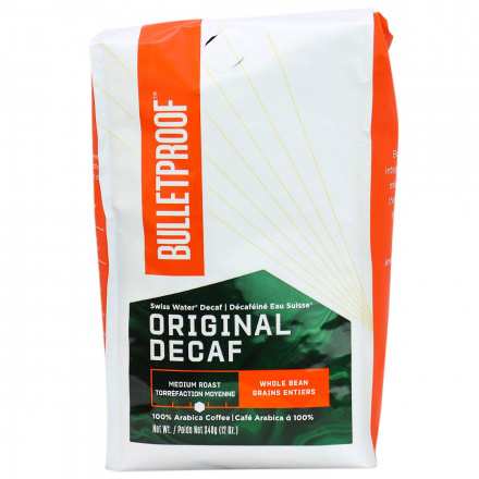 Front of Bulletproof The Original Whole Bean Decaf Coffee, 340g