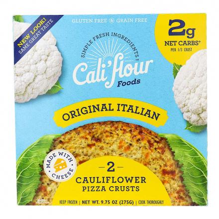 Front of Cali'flour Foods Cauliflower Pizza Crust - The Original Italian, 2 Crusts