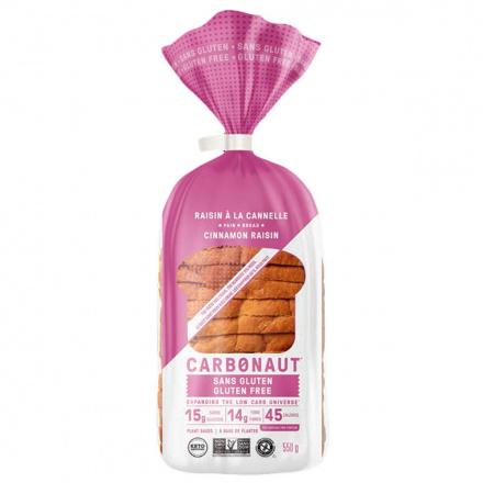 Front of Carbonaut Keto Gluten-Free Cinnamon-Raisin Bread, 550g