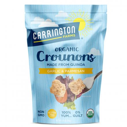 Front of Carrington Farms Organic Gluten-Free Crounons Garlic & Parmesan, 134g