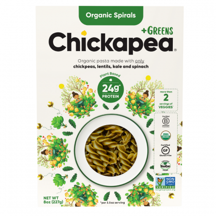 Front of Chickapea +Greens Organic Spirals, 227g