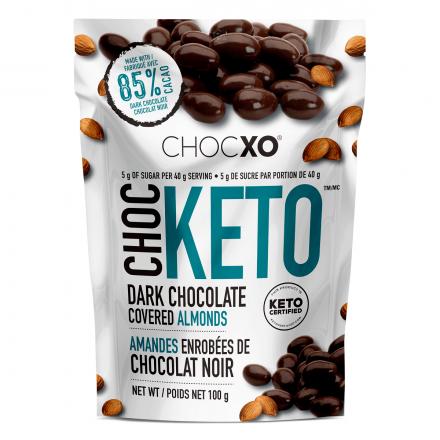 ChocXO Choc Keto Dark Chocolate Covered Almonds, 100g