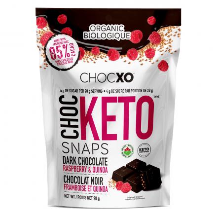Front of ChocXO Choc Keto  Snaps Dark Chocolate Raspberry & Quinoa, 98g