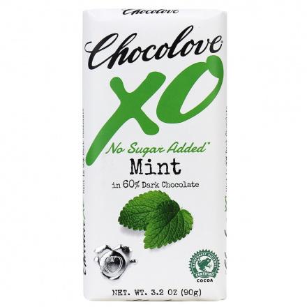 Chocolove XO No Sugar Added Mint 60% Dark Chocolate, 90g