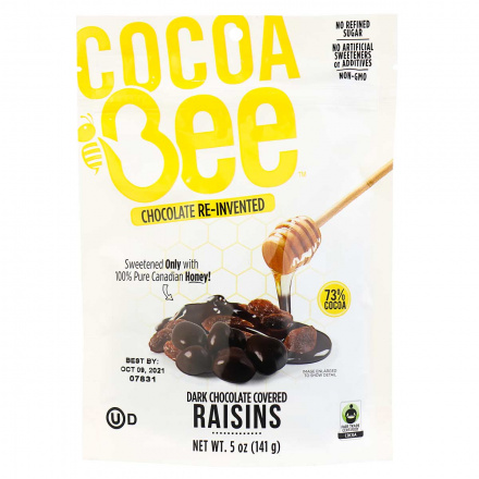 Front of Front of COCOABEE CHOCOLATE Dark Chocolate Covered Raisins, 141g