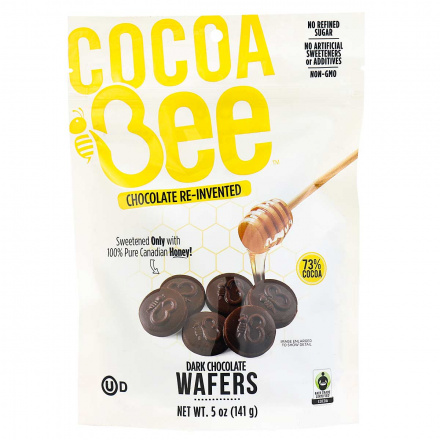 Front of COCOABEE CHOCOLATE Dark Chocolate Wafers, 141g