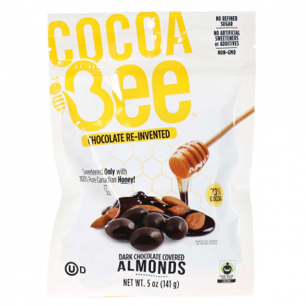 Front of Cocoabee 73% Cocoa Dark Chocolate Covered Almonds, 141g
