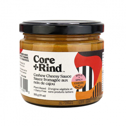 Front of Core and Rind Plant-Based + Dairy-Free Cashew Cheesy Sauce Bold & Spicy, 312g