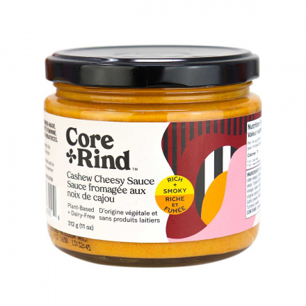 Front of Core and Rind Plant-Based + Dairy-Free Cashew Cheesy Sauce Rich & Smoky, 312g