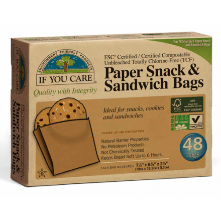 If You Care Unbleached Paper Sandwich and Snack Bags, 48 ct