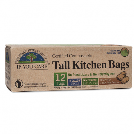 If You Care 13 Gallon 97% Recycled Tall Kitchen Trash Bag, 12 bags