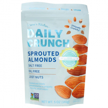 Front of Daily Crunch Snacks Sprouted Almonds, 141g