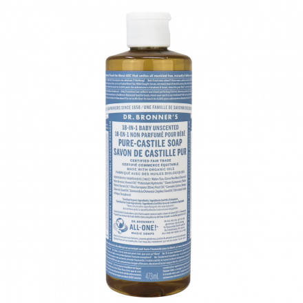 Dr. Bronner's Baby Unscented Organic Pure Castile Liquid Soap, 473ml