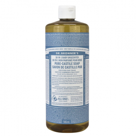 Dr. Bronner's Baby Unscented Organic Pure Castile Liquid Soap, 946ml