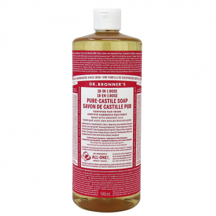Front of Dr. Bronner's Pure Castile Soap Rose, 946 mL
