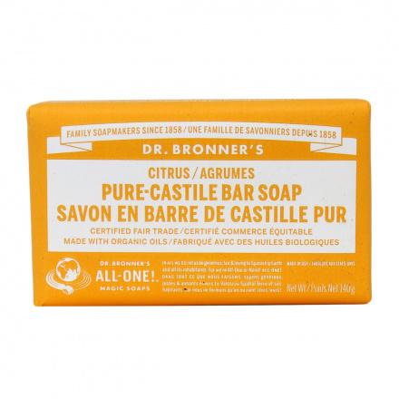 Dr. Bronner's Organic Citrus Pure Castile Bar Soap, 140g