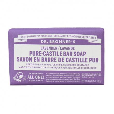 Dr. Bronner's Organic Lavender Pure Castile Bar Soap, 140g