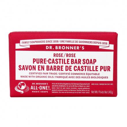 Dr. Bronner's Organic Rose Pure Castile Bar Soap, 140g