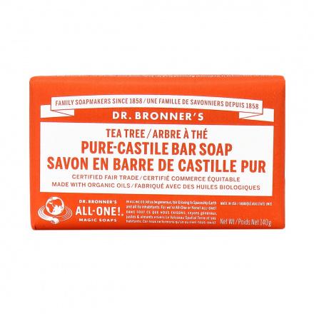 Dr. Bronner's Organic Tea Tree Pure Castile Bar Soap, 140g